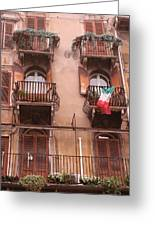 Apartments Overlooking The Streets Of Verona Greeting Card