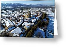 Apiro Italy In The Snow - Aerial Image. Greeting Card