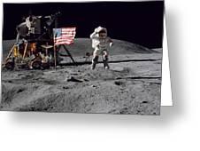 Apollo 16 Astronaut Leaps Greeting Card