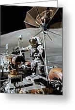 Apollo 17 Astronaut Approaches Greeting Card