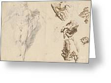 Apollo And Studies Of The Artist's Own Hand [recto] Greeting Card