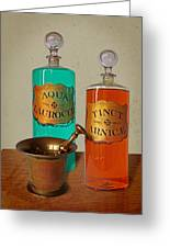 Apothecary Bottles And Brass Pestle And Mortar Greeting Card