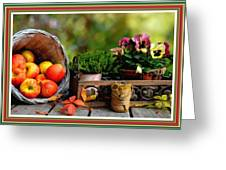 Apple Basket And Other Objects Still Life L B With Alt. Decorative Ornate Printed Frame. Greeting Card