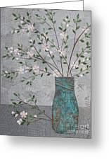 Apple Blossoms In Turquoise Vase Greeting Card
