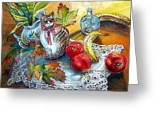 Apple Cat Greeting Card