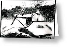 Apple Farm In Winter Greeting Card