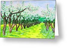 Apple Garden In Blossom Greeting Card
