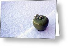 Apple On Snow Greeting Card