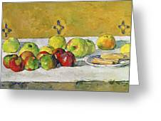 Apples And Biscuits Greeting Card by Paul Cezanne