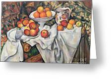 Apples And Oranges Greeting Card by Paul Cezanne