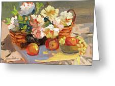 Apples And Peonies Greeting Card
