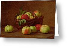 Apples In A Basket And On A Table Greeting Card by Ignace Henri Jean Fantin-Latour