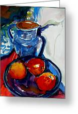 Apples In Glass Bowl Greeting Card