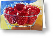 Apples In Wirebasket Greeting Card