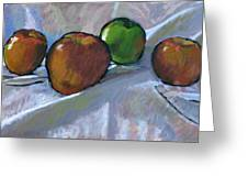 Apples On Cloth Greeting Card