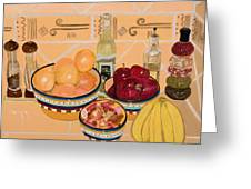 Apples Oranges And Bananas Greeting Card