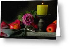 Apples Rose And Candlestick On Tray Stl712923 Greeting Card