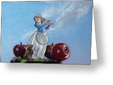 Apples With Figurine Greeting Card