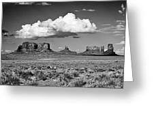 Approaching Monument Valley Black And White Greeting Card