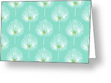 Aqua And White Palm Leaves- Art By Linda Woods Greeting Card
