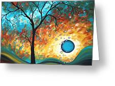 Aqua Burn By Madart Greeting Card