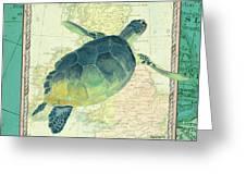 Aqua Maritime Sea Turtle Greeting Card