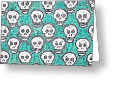 Aqua Skull Pattern Greeting Card
