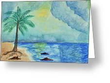 Aqua Sky Ocean Scene Greeting Card