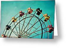 Aquamarine Dream - Ferris Wheel Art Greeting Card