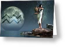 Aquarius Zodiac Symbol Greeting Card by Daniel Eskridge