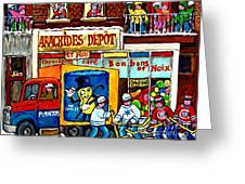 Arachides Depot Candy Shop Painting Rue De L'eglise Verdun Montreal Hockey Art Carole Spandau        Greeting Card