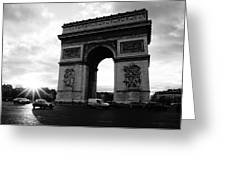 Arc De Triomphe Sunset Paris, France Greeting Card
