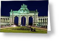 Arcade Du Cinquantenaire At Night - Brussels Greeting Card