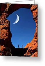 Arch In Canyon Rock Formations Silhouetter Of Hiker Greeting Card