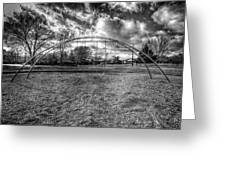 Arch Swing Set In The Park 76 In Black And White Greeting Card
