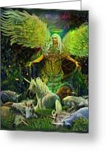 Archangel Raphael Protector Of Unicorns Greeting Card
