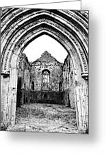 Athassel Priory Tipperary Ireland Medieval Ruins Decorative Arched Doorway Into Great Hall Bw Greeting Card
