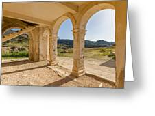Arches And Stairs Of Derelict Agios Georgios Church Greeting Card