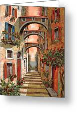 Archetti In Rosso Greeting Card by Guido Borelli