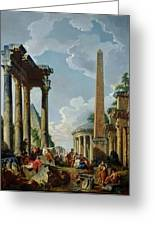 Architectural Capriccio With A Preacher In The Ruins Greeting Card