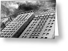 Architecture Tall Buildings Bw Nyc  Greeting Card