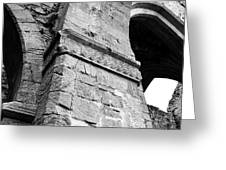 Architecural Detail At Irish Jerpoint Abbey County Kilkenny Ireland Black And White Greeting Card