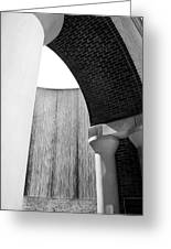 Arcs And Tangents Houston Water Wall In Black And White Greeting Card