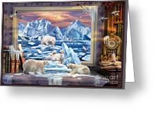 Arctic Bears Coming Greeting Card