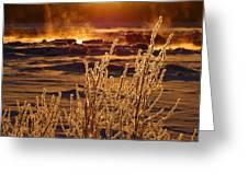 Arctic Sea Smoke Sunrise Greeting Card