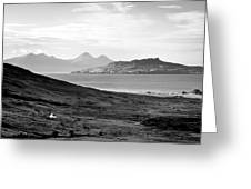 Ardnamurchan Landscape Toward The Islands Of Eigg And Rhum.    Black And White Greeting Card