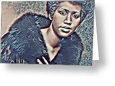 Aretha Franklin Abstract Art Greeting Card