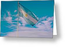 Argentinian Flag In Central Park In Bariloche-argentina  Greeting Card