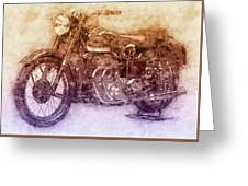 Ariel Square Four 2 - 1931 - Vintage Motorcycle Poster - Automotive Art Greeting Card