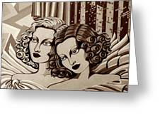 Arielle And Gabrielle In Sepia Tone Greeting Card